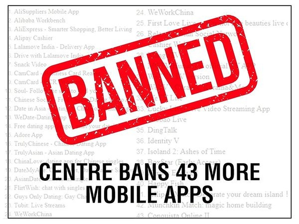 Government Of India Again Blocks 43 Chinese Mobile Apps Over Security Concerns