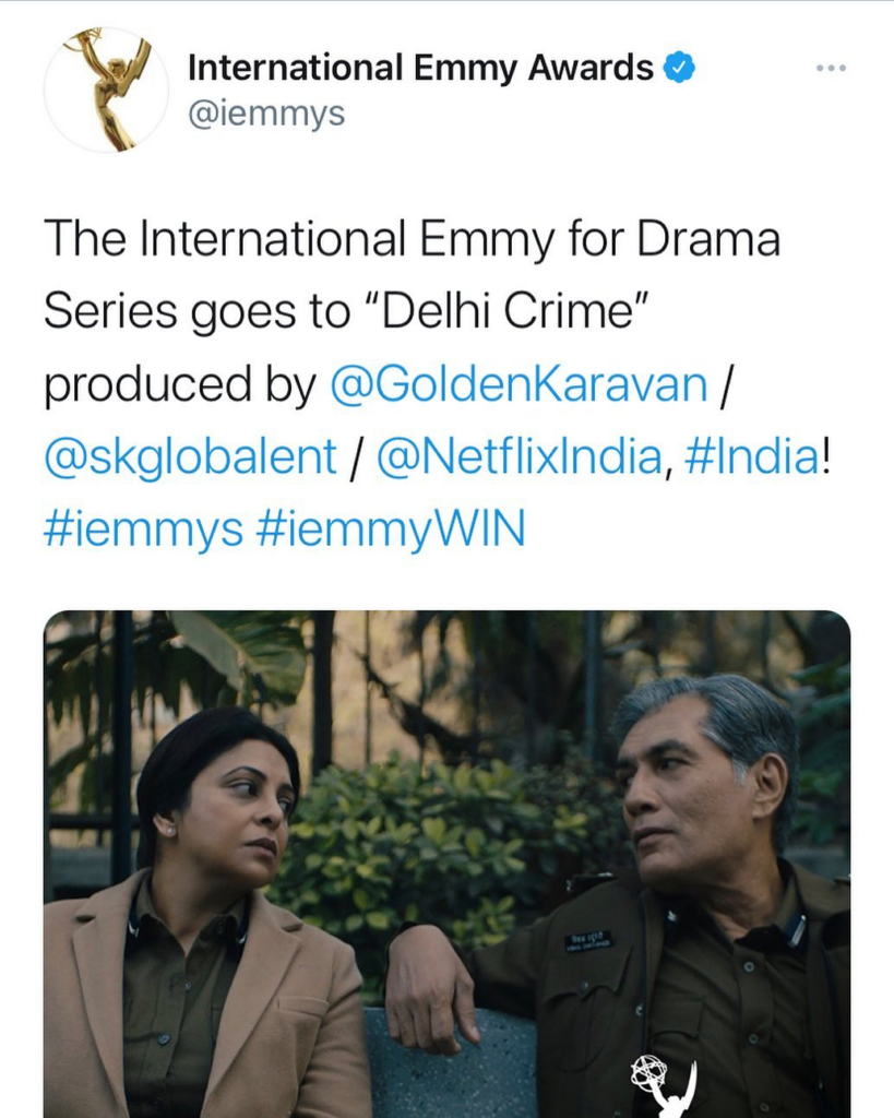 Delhi Crime wins the Best Series at International Emmy Awards 2020